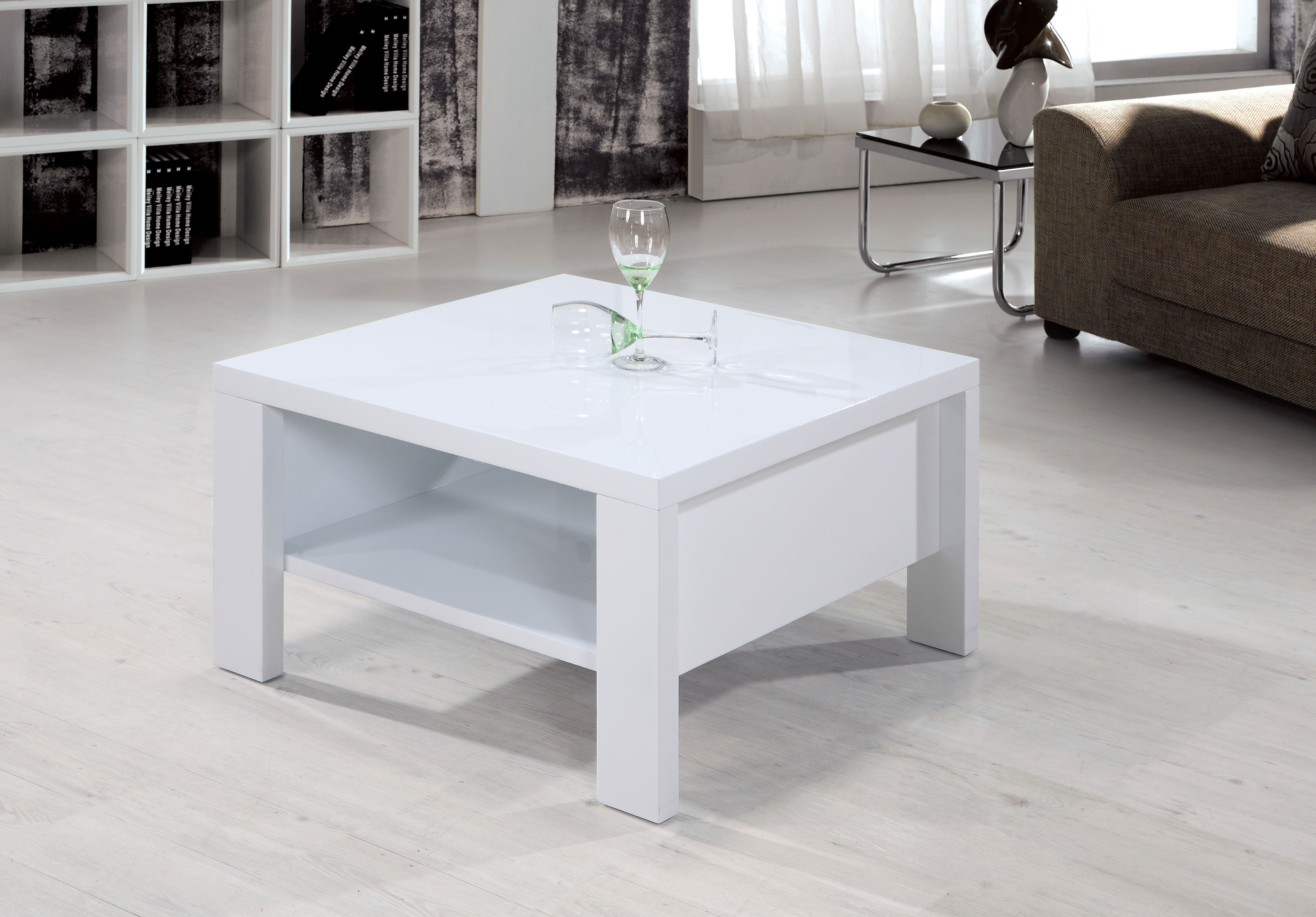 - High Gloss White Square Coffee Table With Shelf EBay