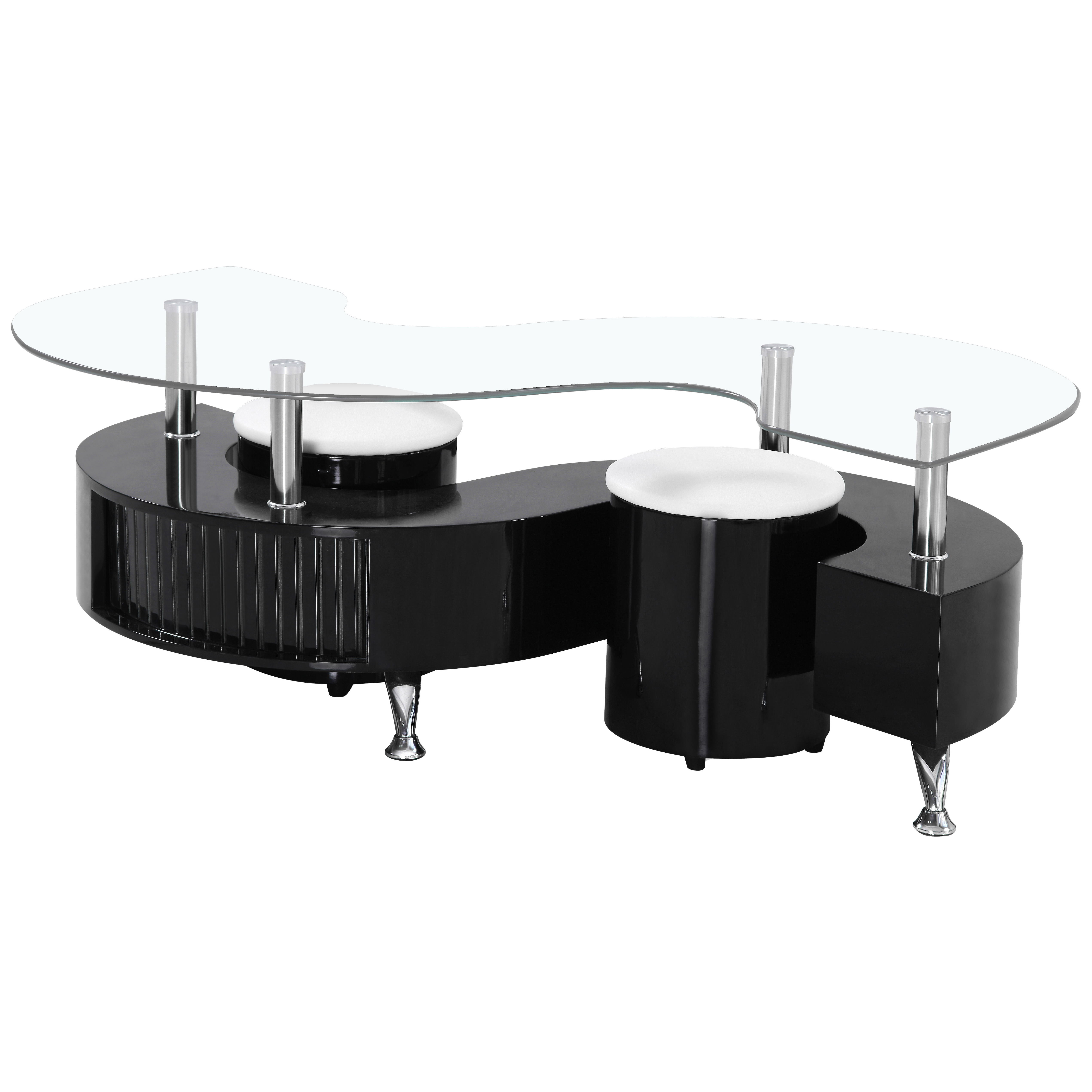 High Gloss Finish Glass Coffee Table With Storage