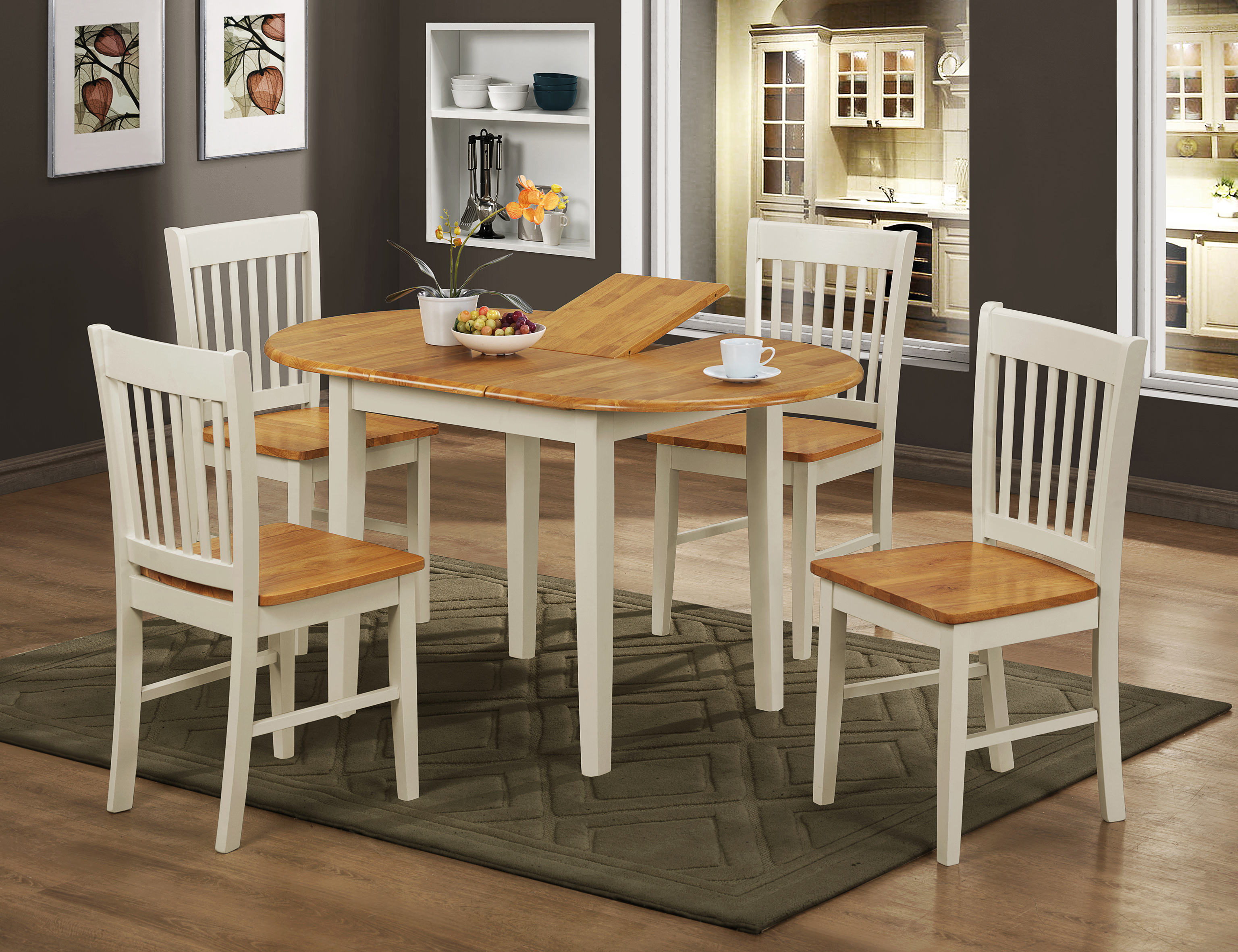 Oak & White Oval Extending Extendable Dining Table and ...