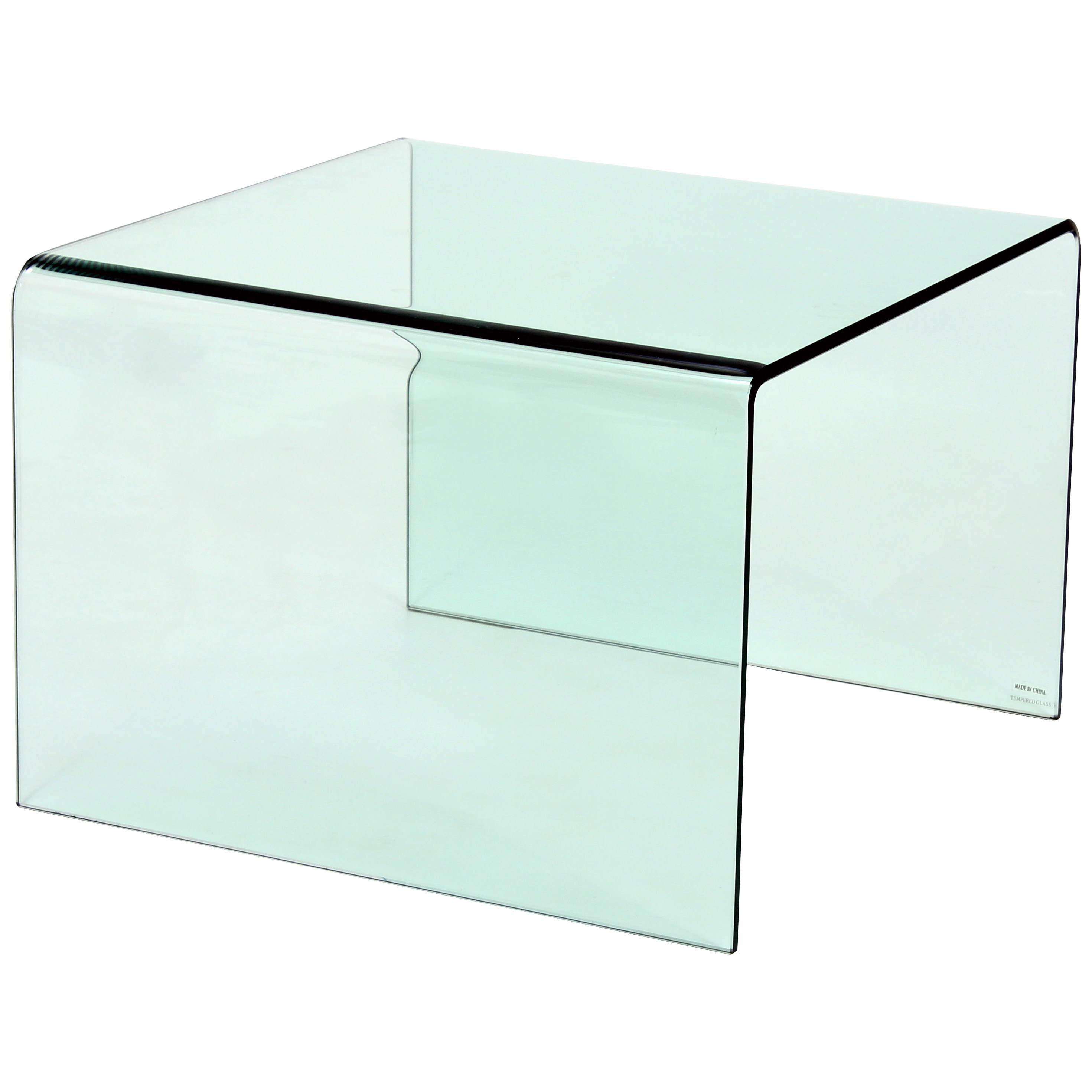 Picture of: Tempered Bent Glass End Lamp Small Side Coffee Table Clear Black Ebay