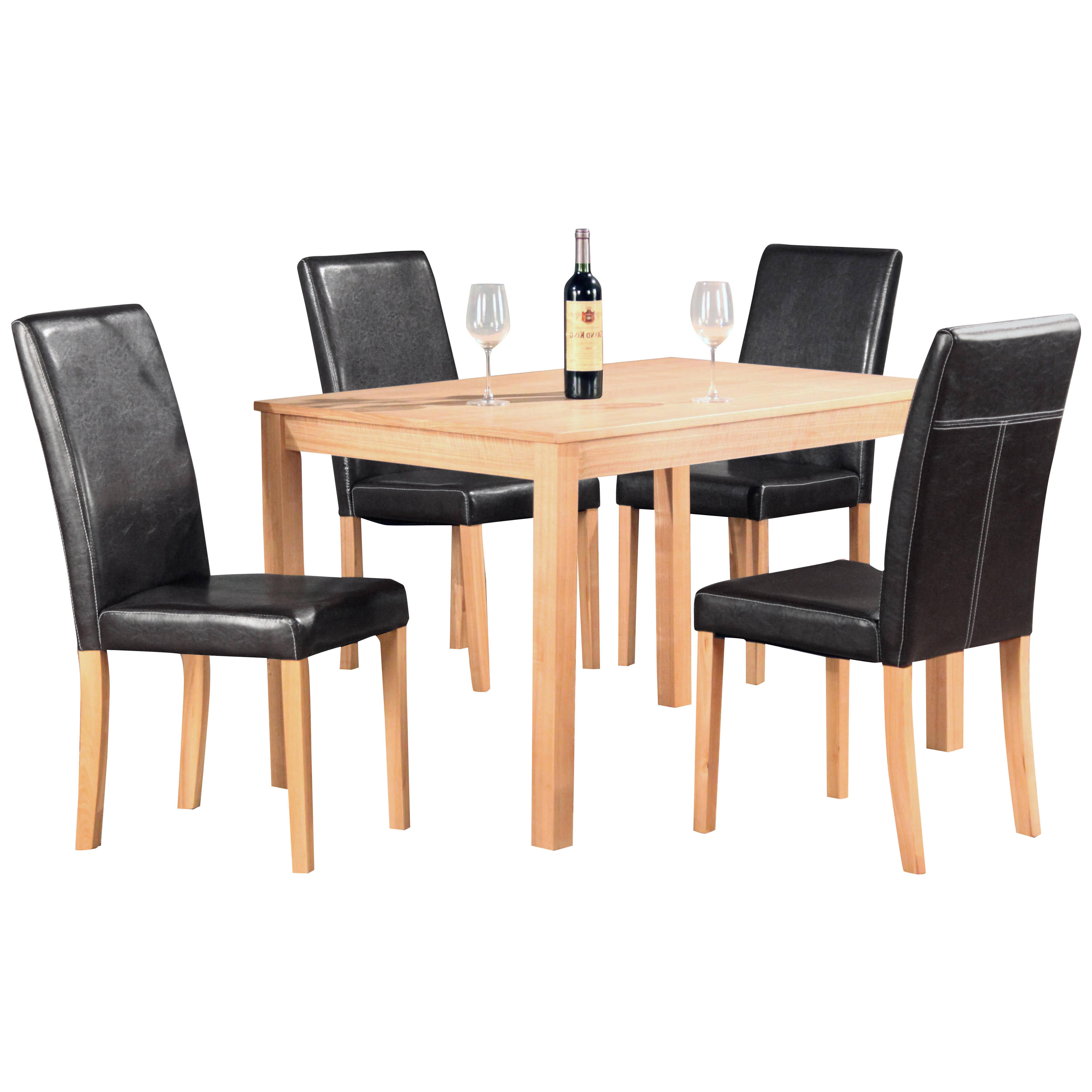 Details about natural ash finish dining table and chair set with 4 seats black brown