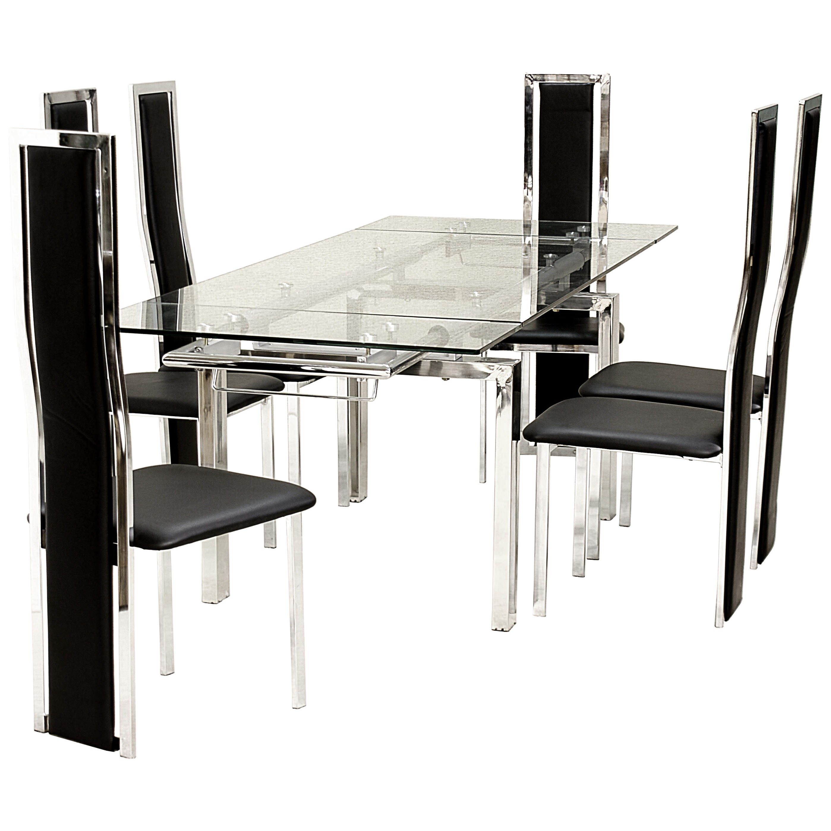 Chrome Amp Clear Glass Extending Dining Table And Chair Set