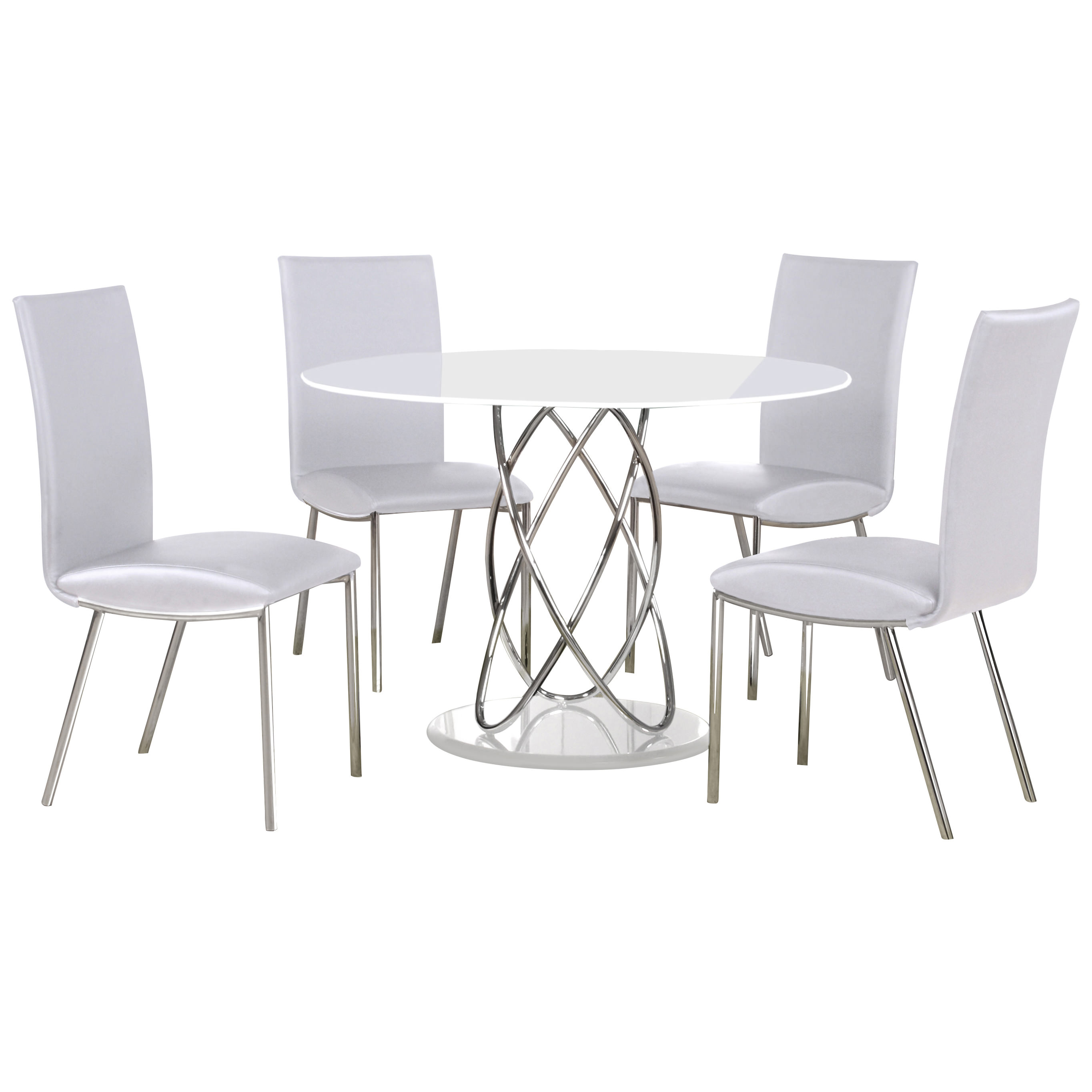 Chrome Amp Glass Round Dining Table And Chair