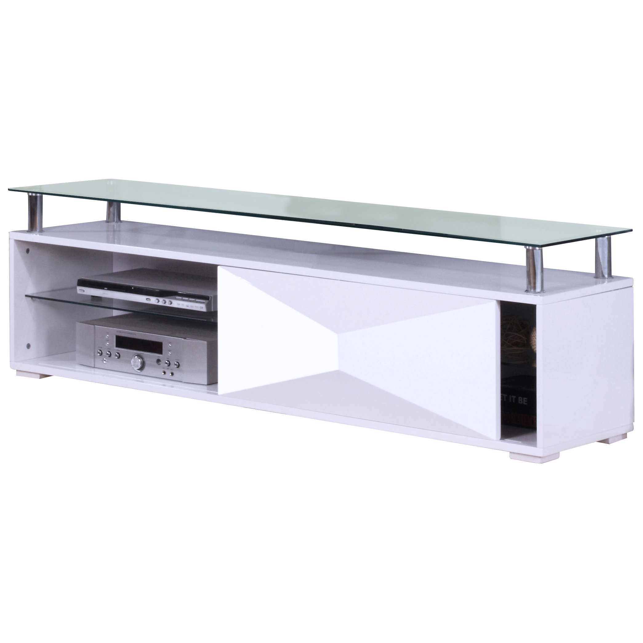 cheaper 2b08b 1f8cc Details about Gloss & Clear Glass Flat Screen TV Table Stand Cabinet Media  Unit | Black White
