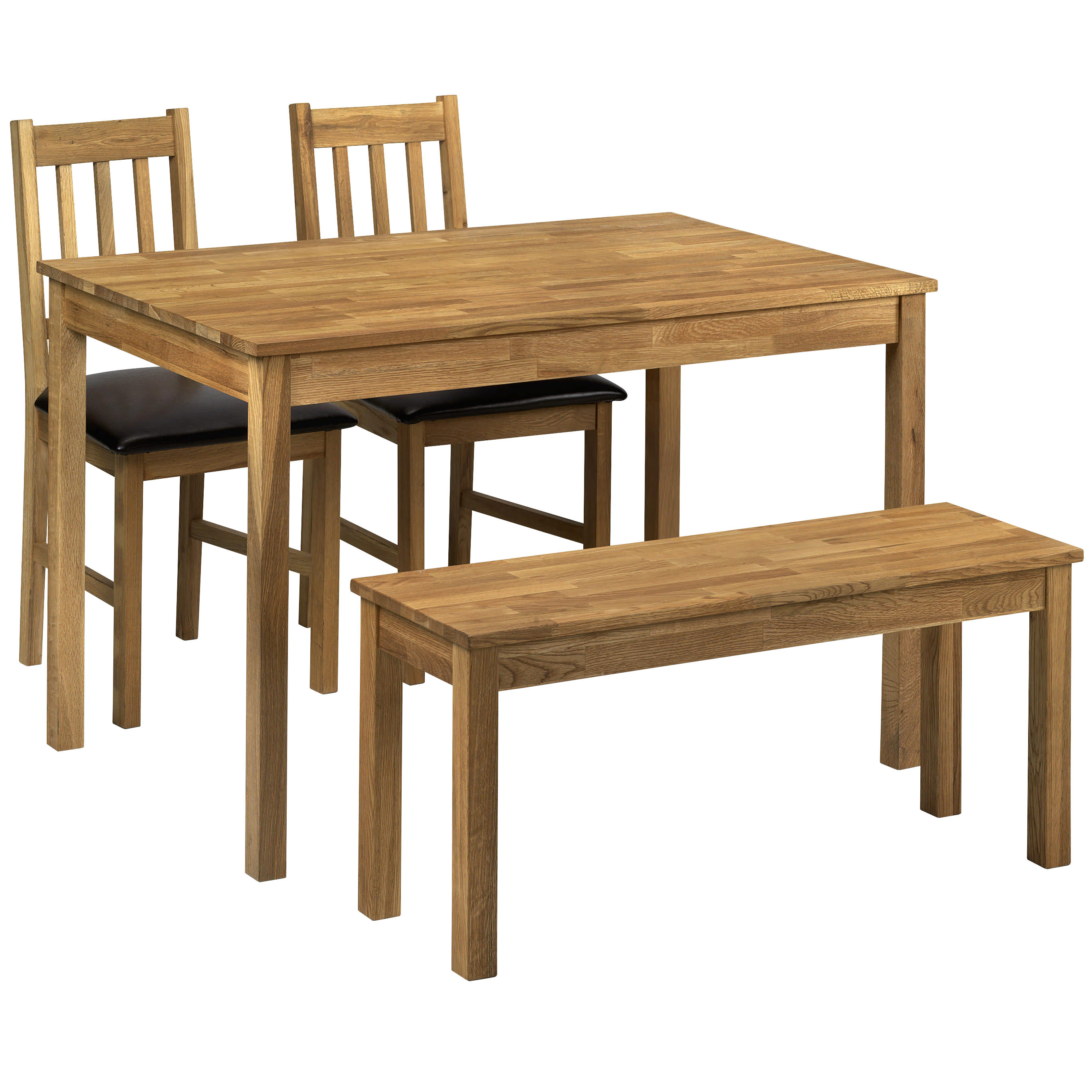 Description solid american white oak dining table and chair set with brown faux leather padded seats this rectangle shape dining set has a smooth oiled