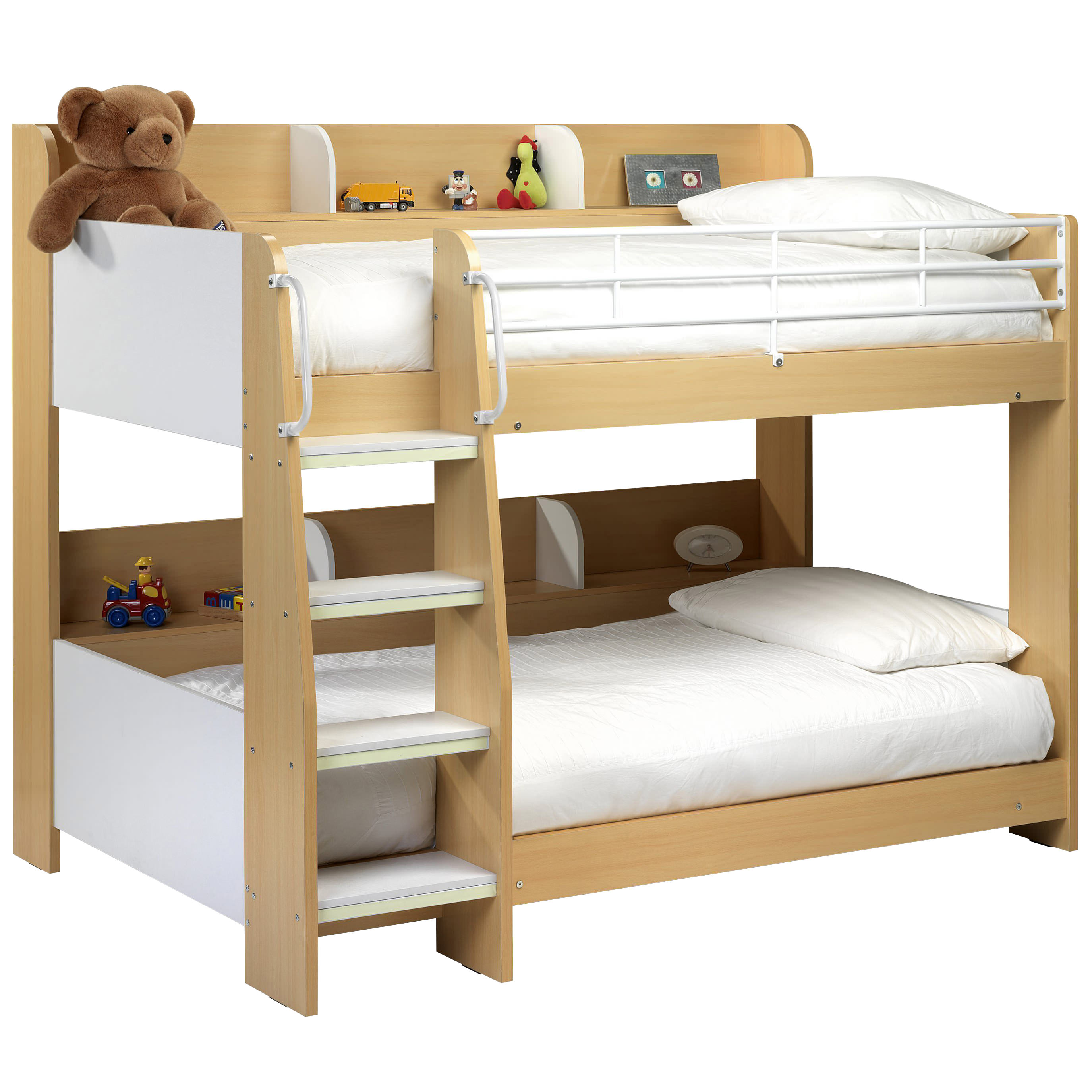 Maple Finish White Childrens Kids Bunk Bed Frame Single 3ft Ebay