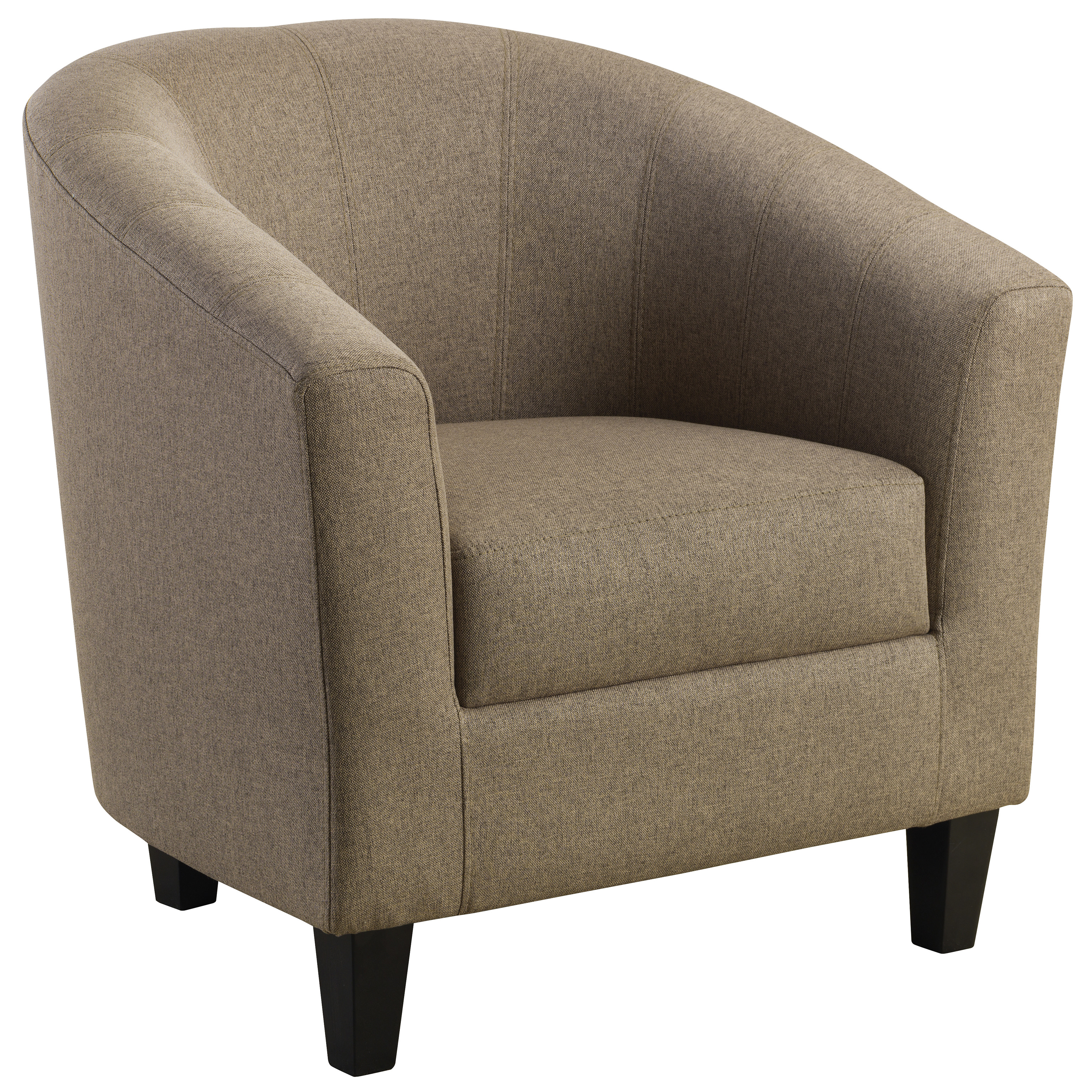 Description: Mushroom Linen Fabric Tub Chair With A Foam Seat Base,  Mushroom Linen Style Fabric Upholstery And Dark Wooden Feet. This One  Seater Armchair ...
