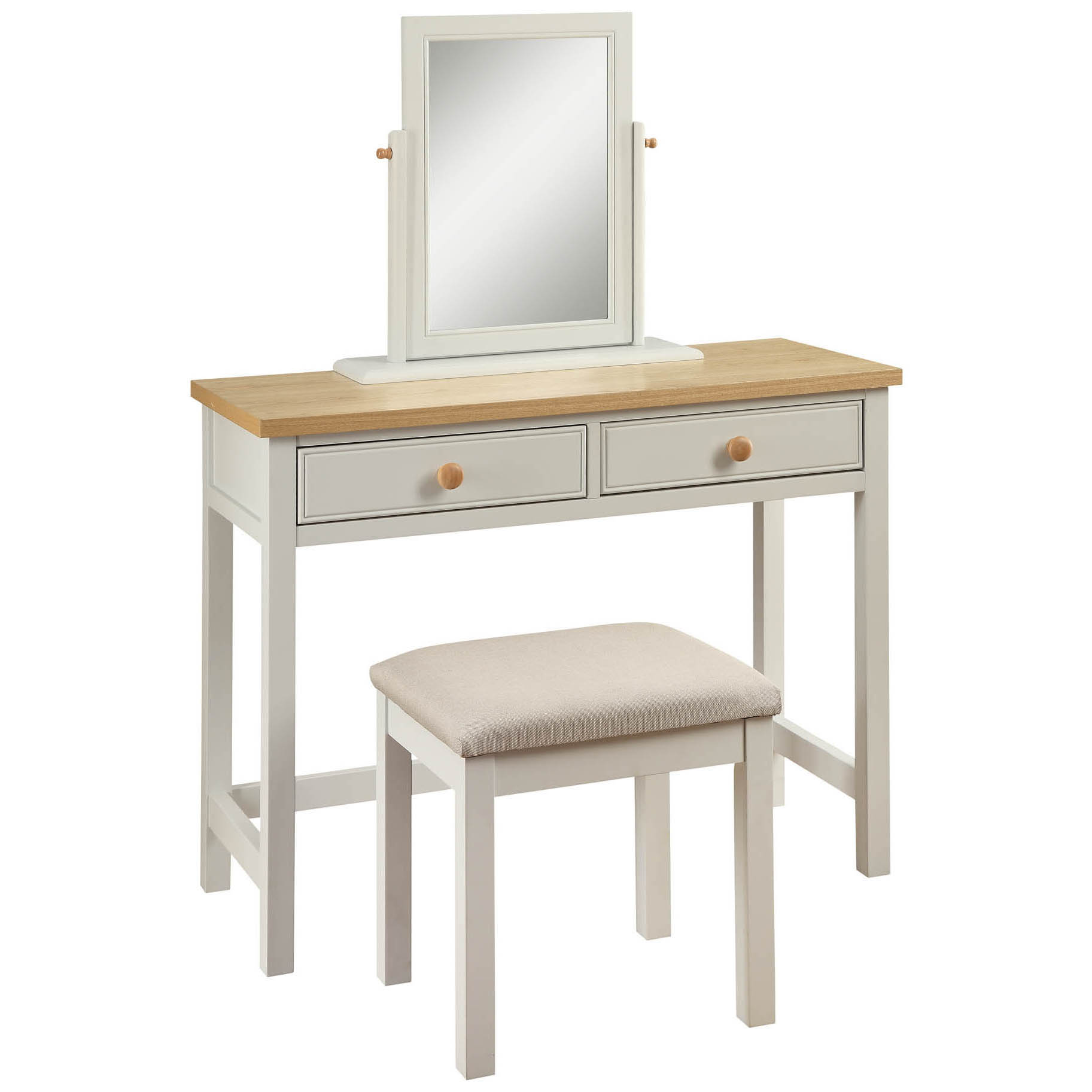 Dove-Grey-amp-Real-Ash-Veneer-2-Drawer-Dressing-Table-Desk-amp-Stool-with-Mirror