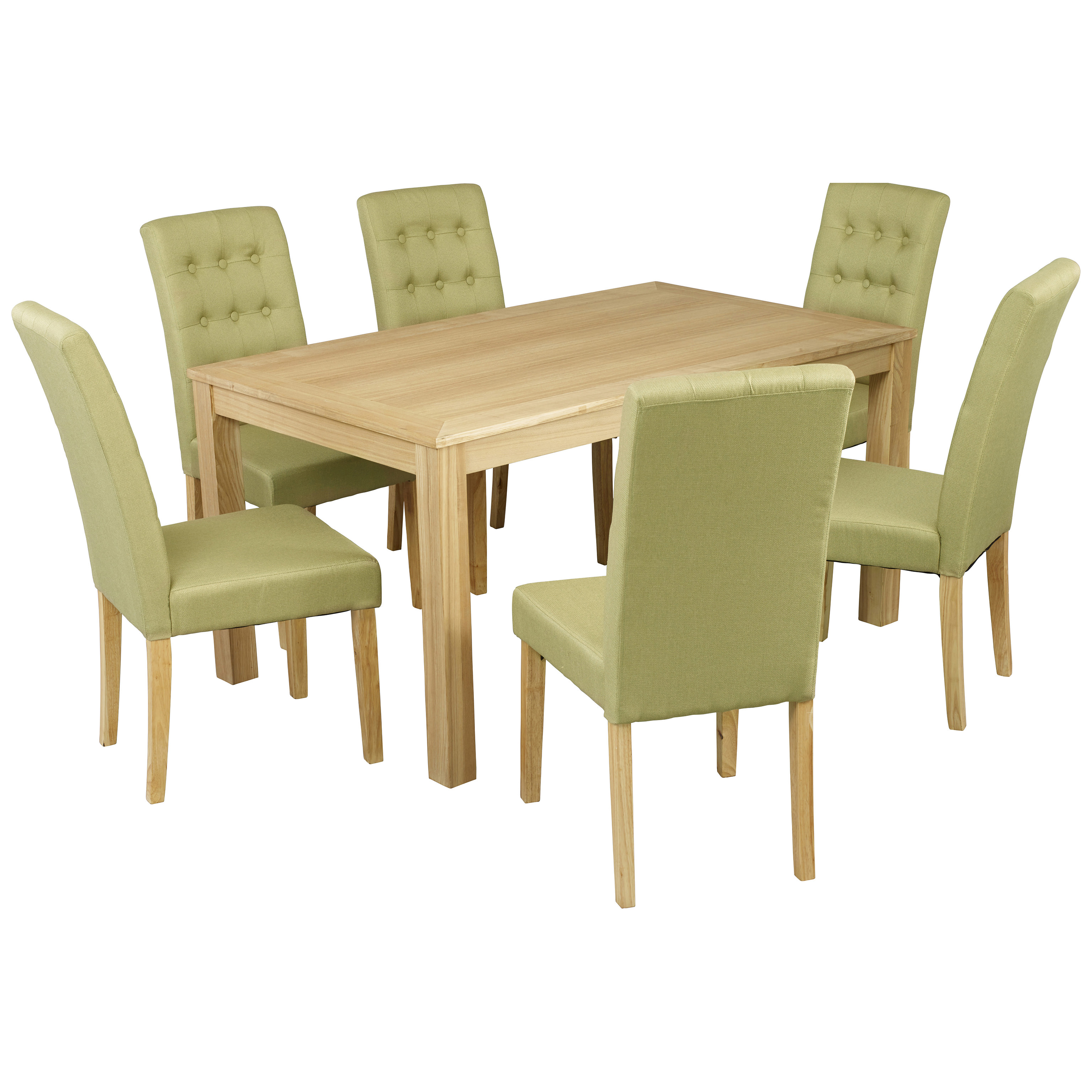 Purple Kitchen Chairs: Oak Dining Table And Chair Set With 6 Fabric Seats