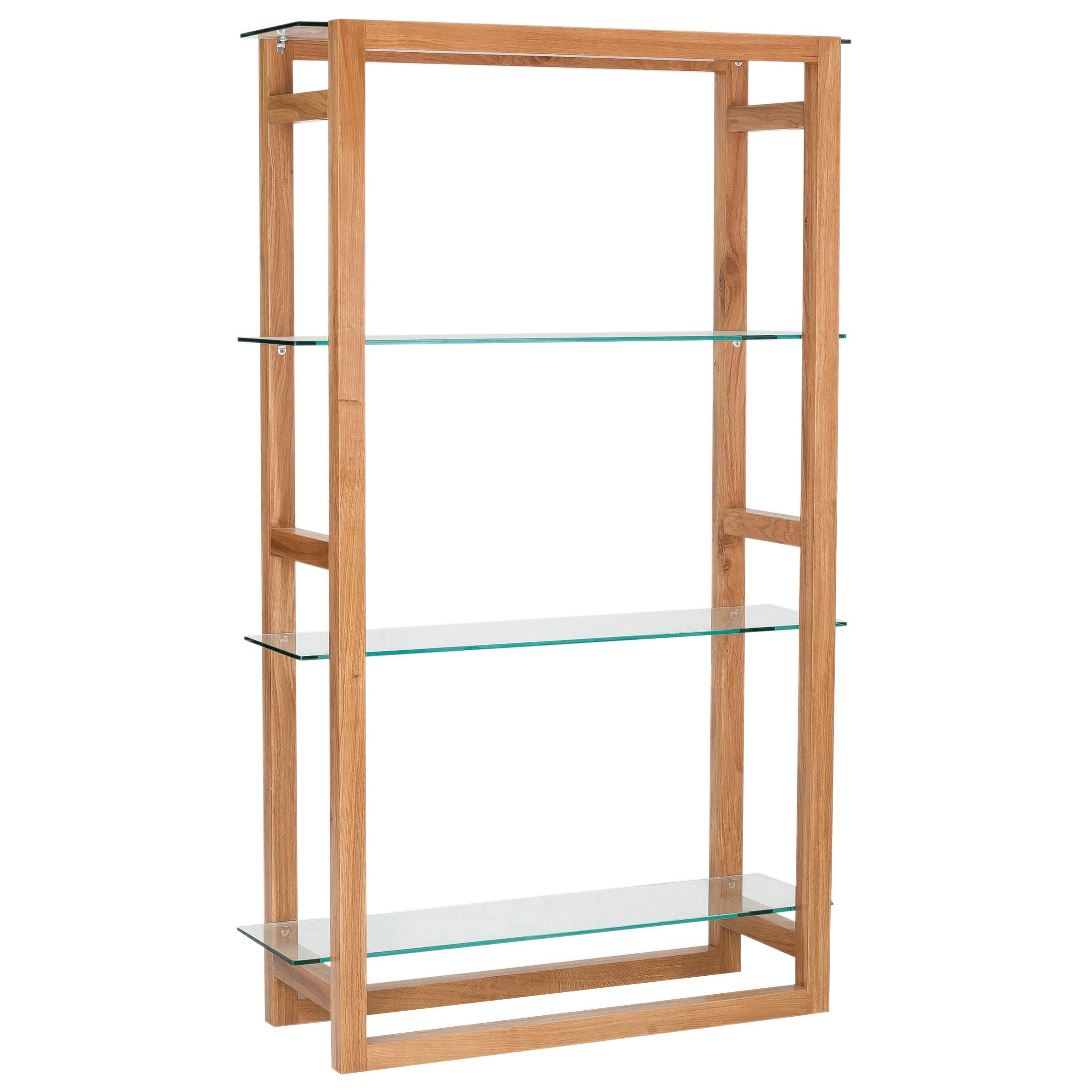 American White Oak & Glass Bookcase Bookshelf Book Storage 3 Shelf ...