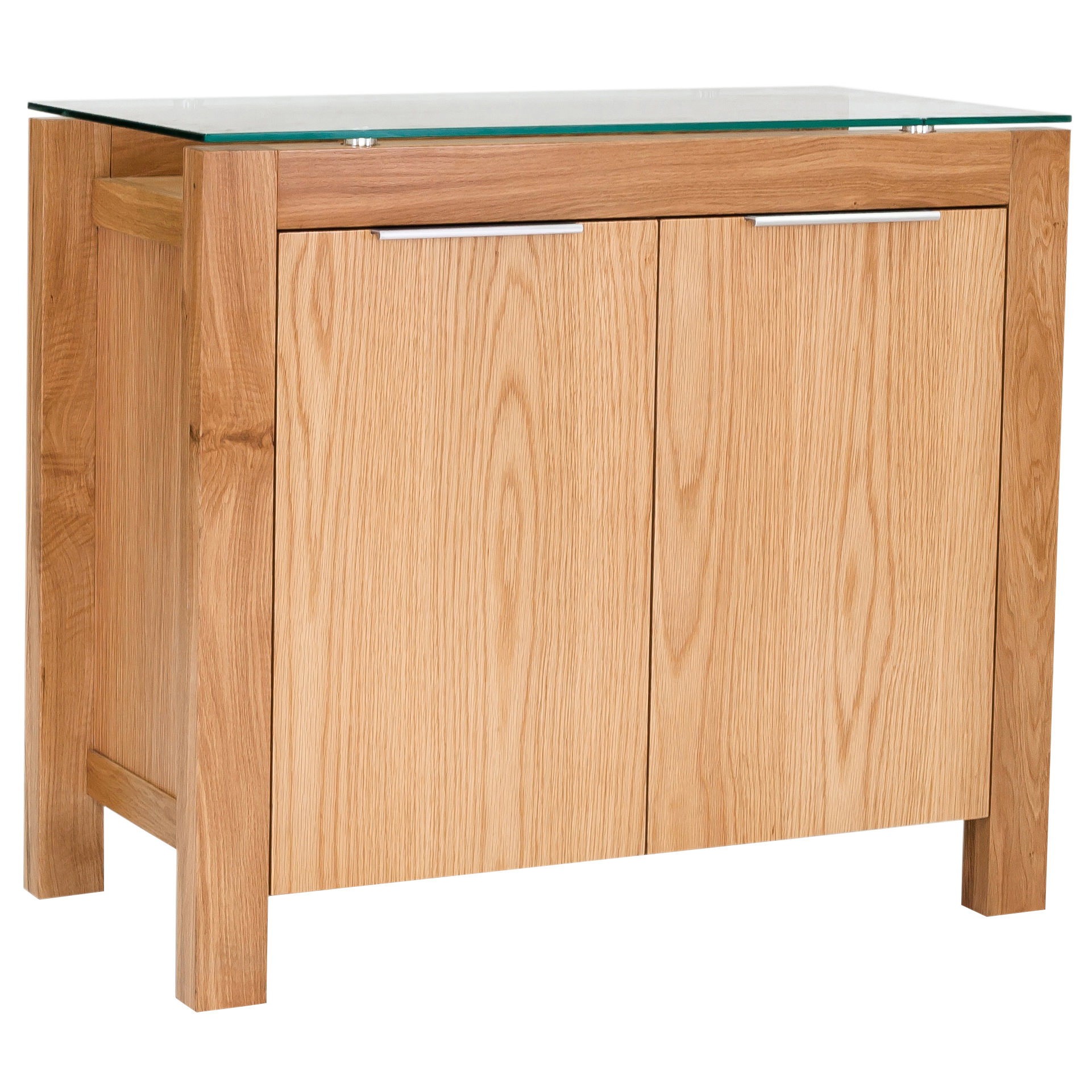 Description  Solid American white oak and glass sideboard storage cabinet  with square legs f0e1eced8