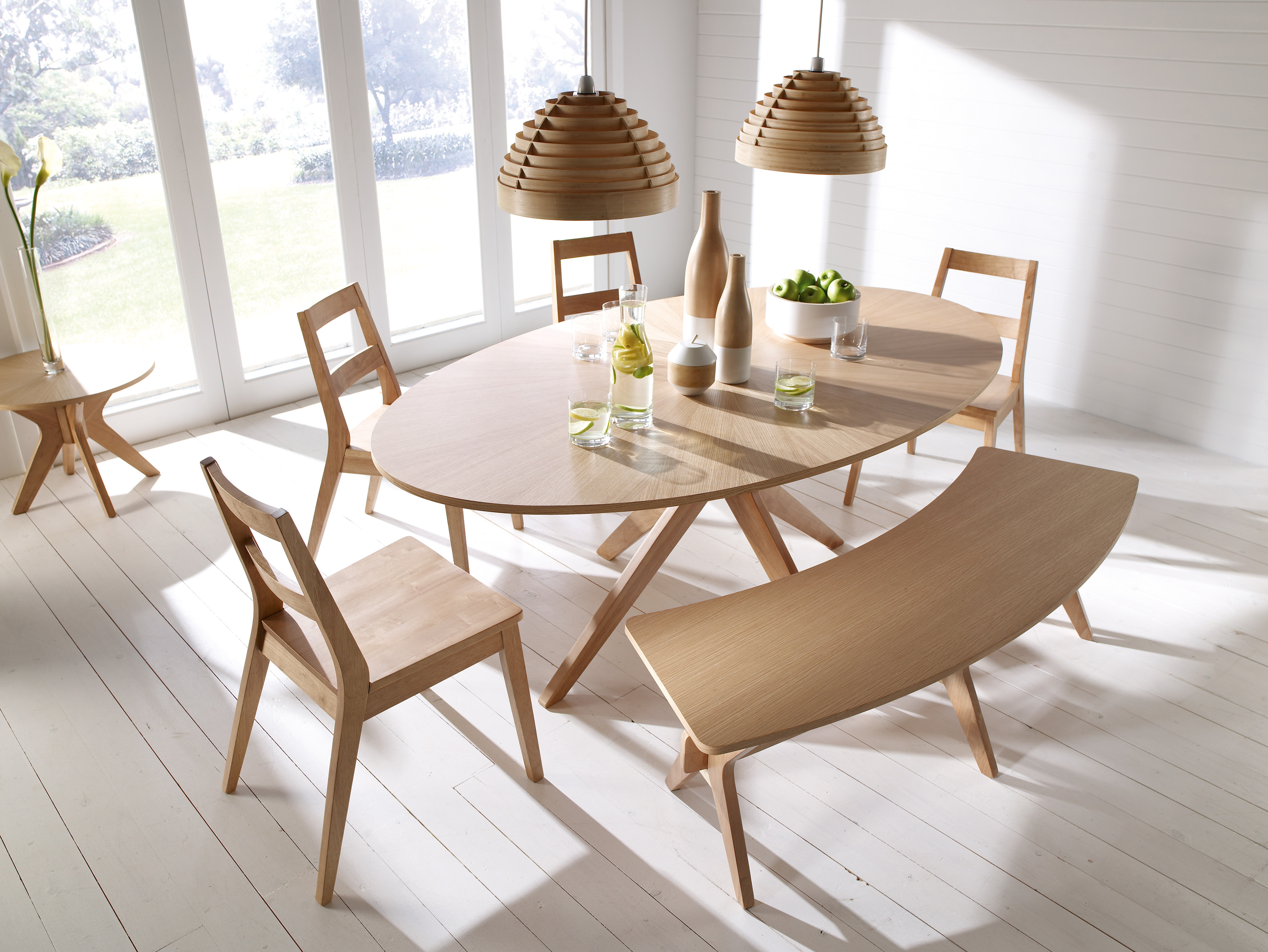 Solid White Oak Veneer Oval Dining Table And Chair Set