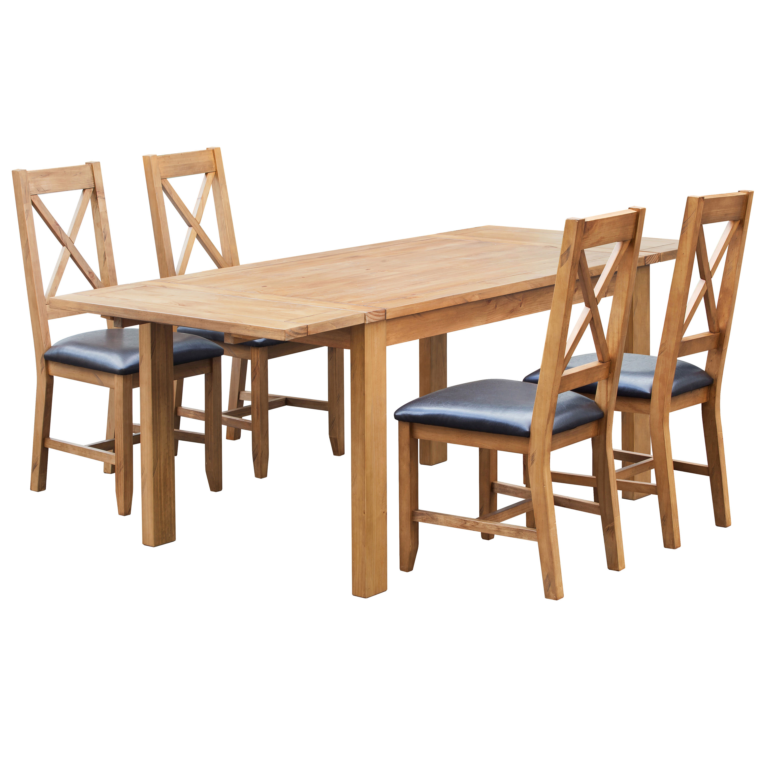 Solid Pine Extending Extendable Dining Table And Chair Set