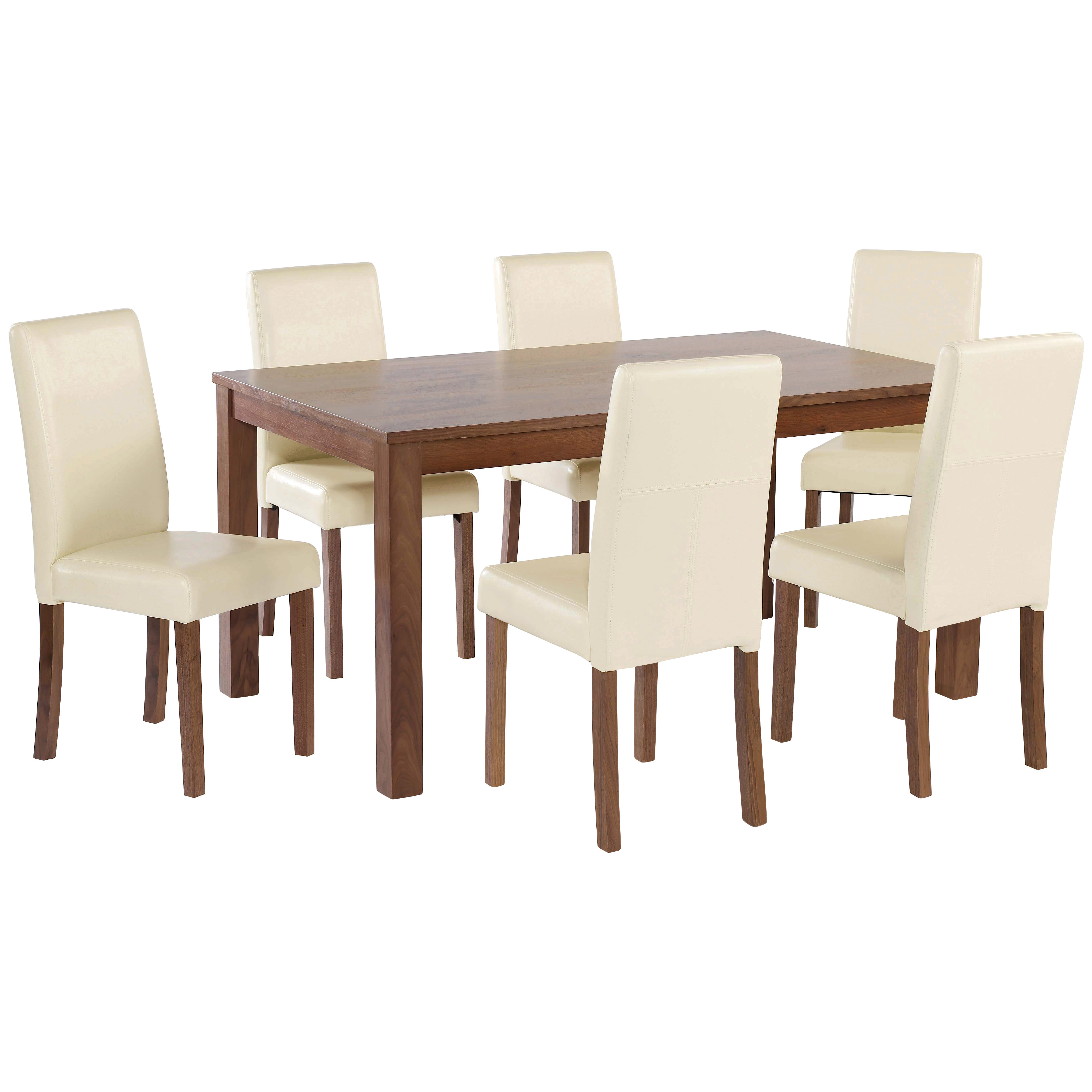American Walnut Dining Table And Chair Set With 4 6 Seat Black