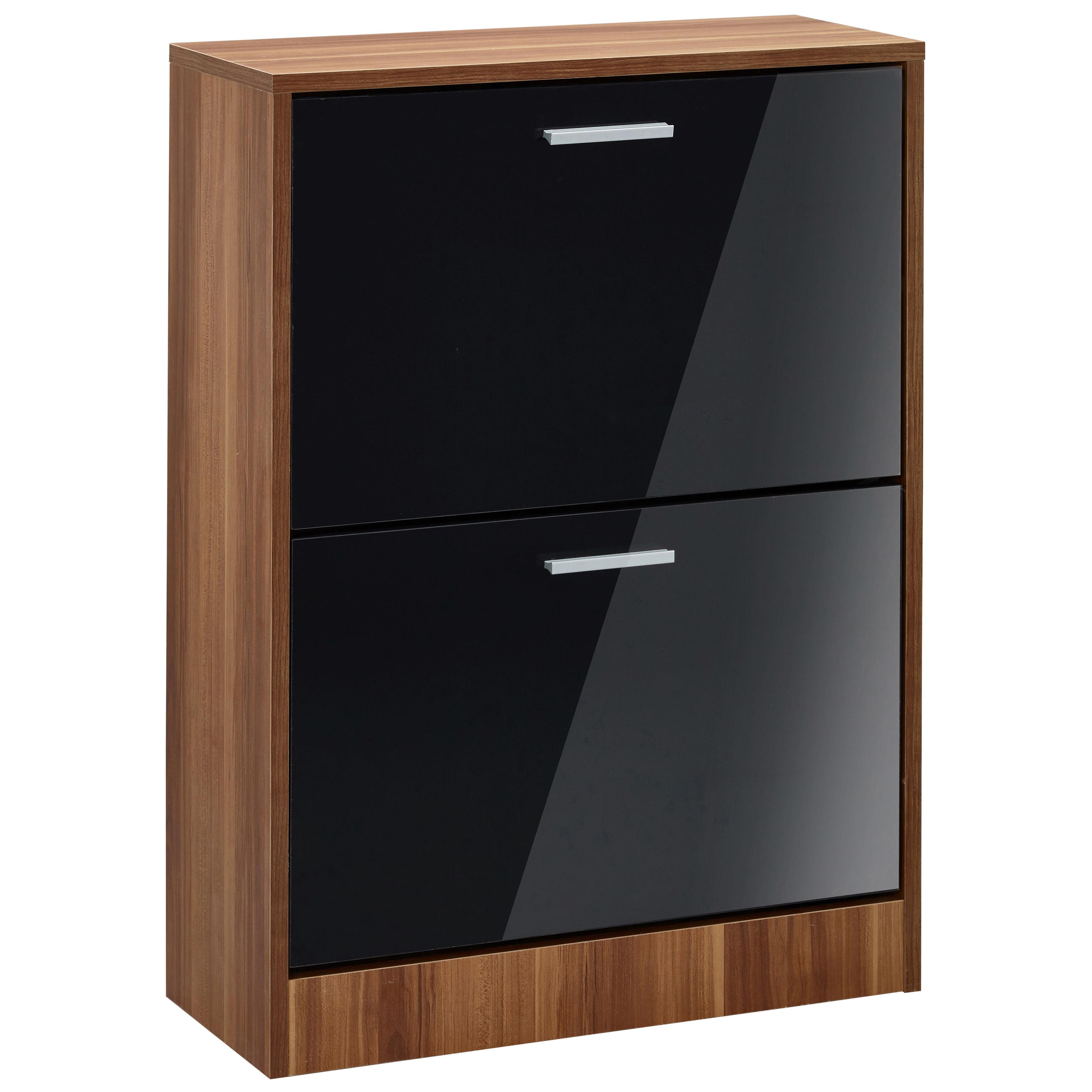 White Gloss Kitchen Cabinets Ebay: High Gloss & Walnut Finish Shoe Storage Cupboard Cabinet
