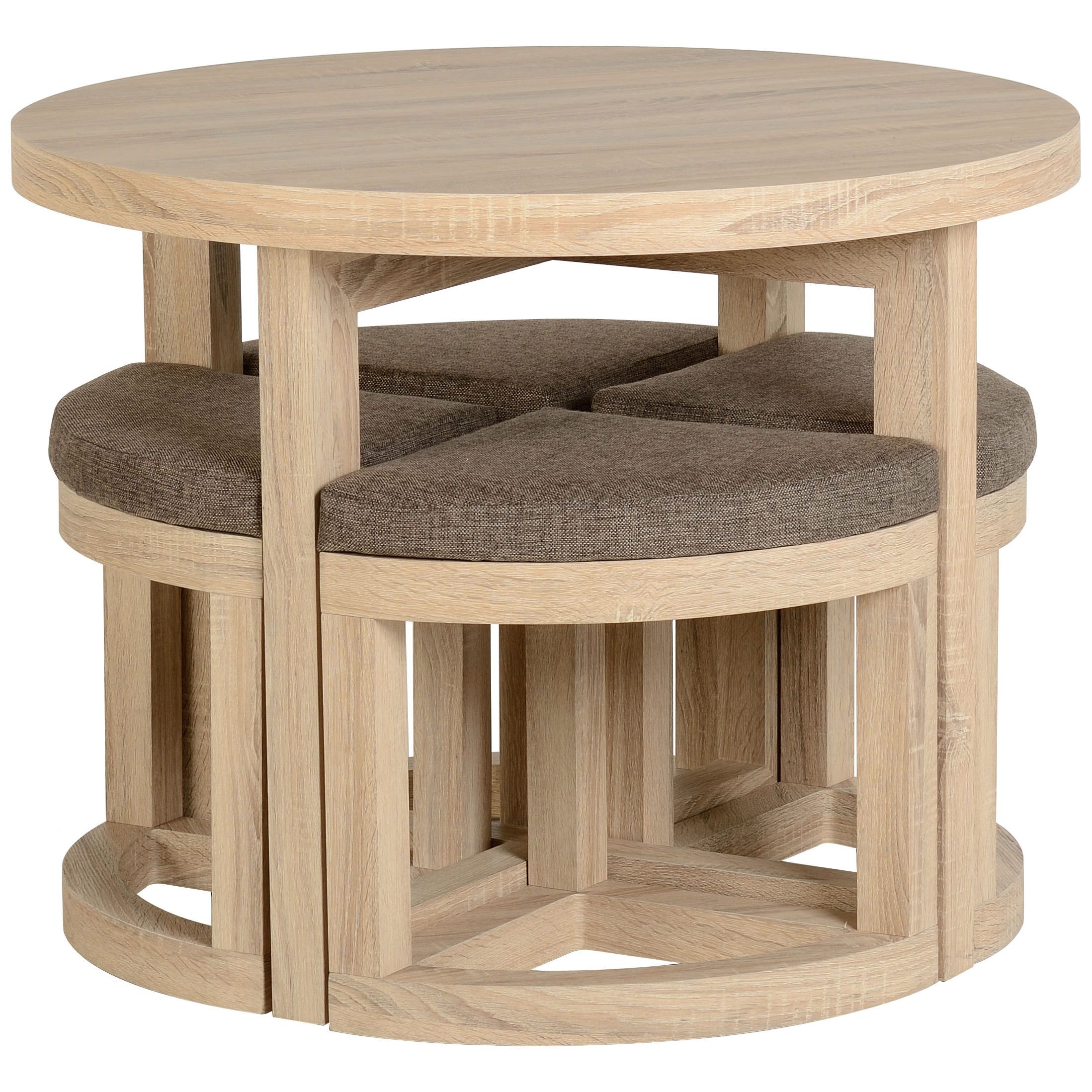 Round Oak Table And Chairs: Sonoma Oak Veneer Round Stowaway Dining Table And Chair