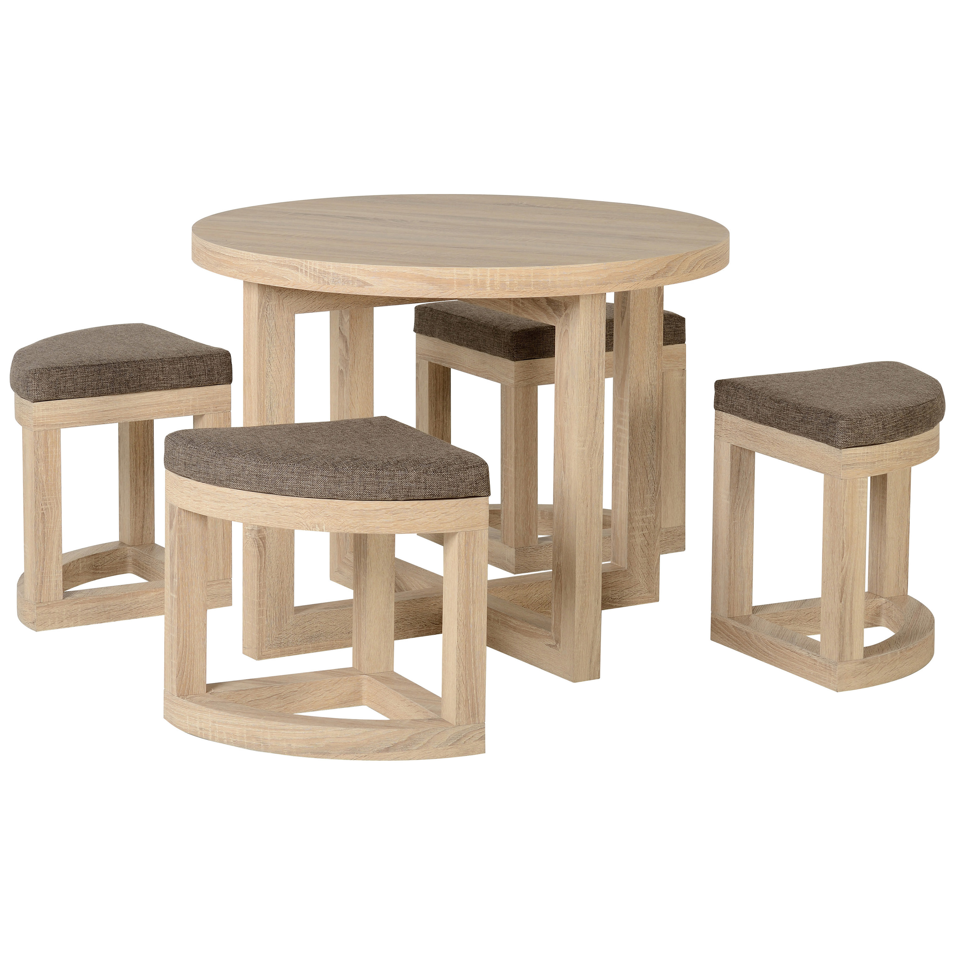 Fine Details About Sonoma Oak Veneer Round Stowaway Dining Table And Chair Set With 4 Brown Seats Bralicious Painted Fabric Chair Ideas Braliciousco