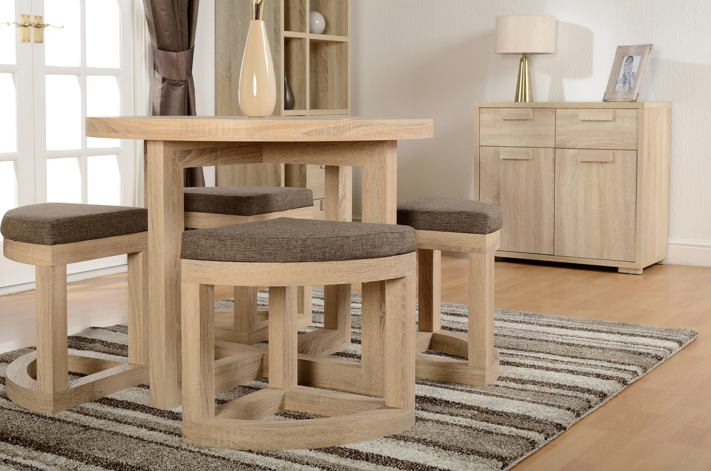 Sonoma Oak Veneer Round Stowaway Dining Table and Chair ...