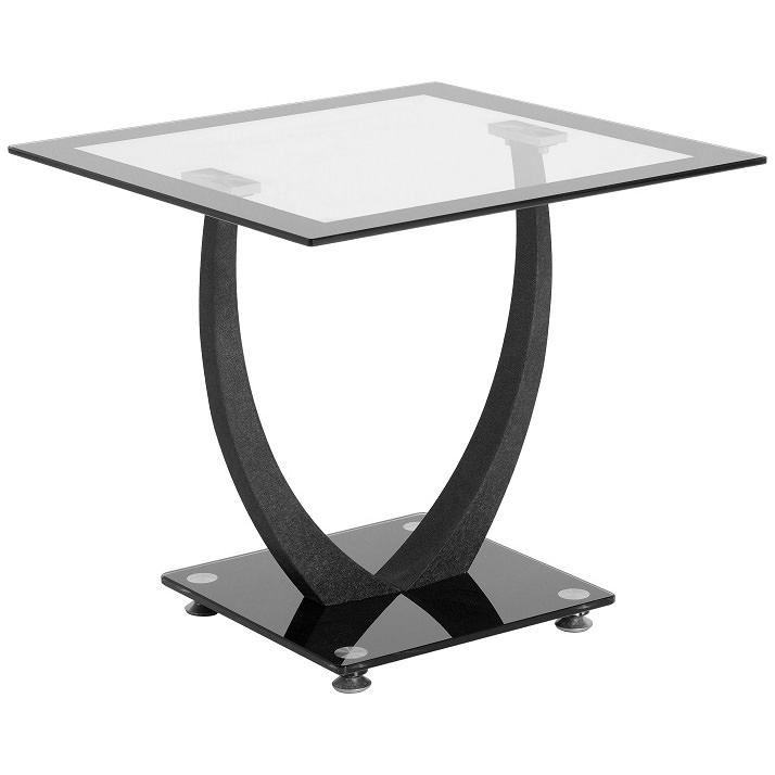 Black Clear Glass End Lamp Small Side Coffee Table Ebay