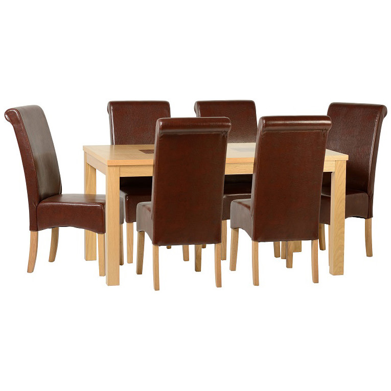 Oak Dining Table And Chair Set With 6
