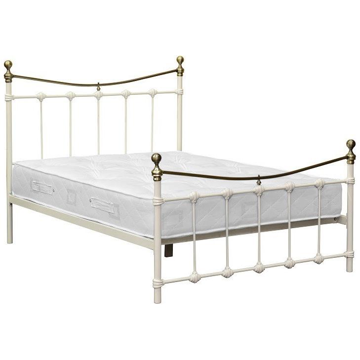 Metal & Antique Brass Bed Frame Bedstead | Double 4ft6 | Black Cream ...