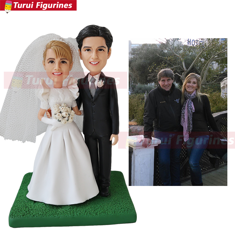 wedding cake decoration topper from couple face photo