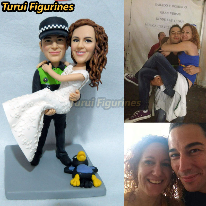 wedding cake topper miniature from couple face photo