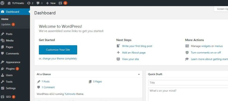 how to open wordpress admin panel