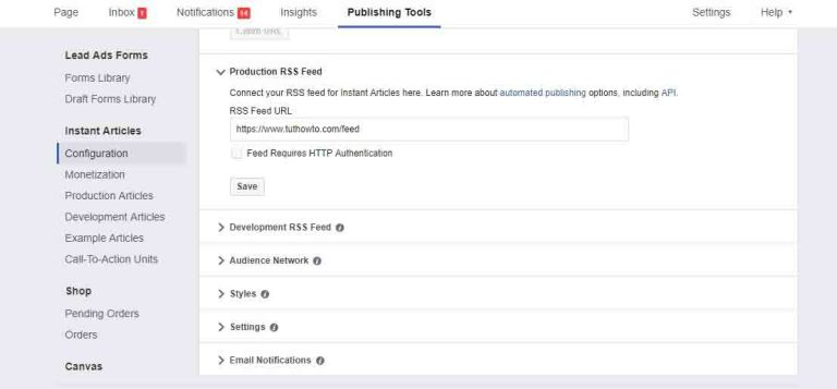 how to production rss feeds on instant facebook article wordpress plugin
