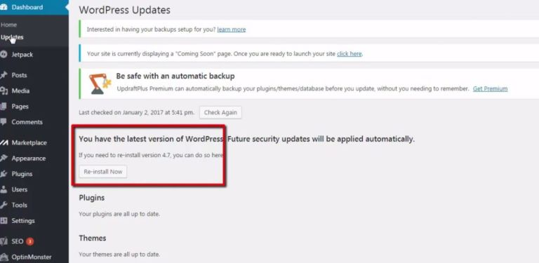 how to update wordpress website from admin panel