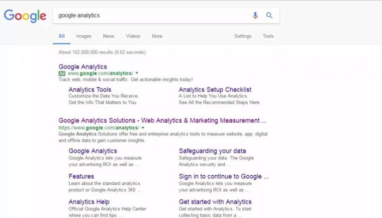 how to open google analytics website via google search engine