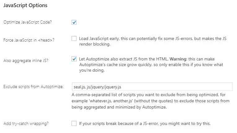 Doing javascript inline setting in autoptimize plugin for better results