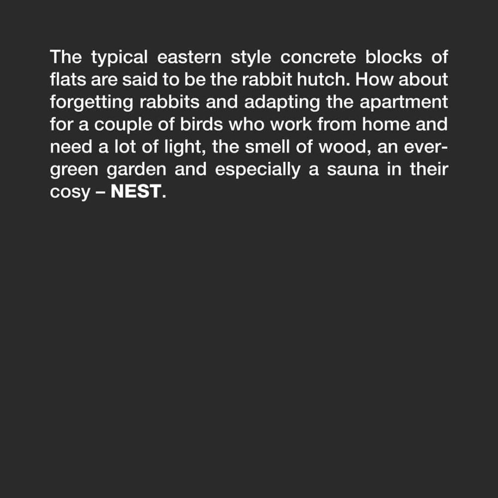 Nest | Apartment reconstructionHnízdo | Rekonstrukce bytuDesign:@tvarycreativegroupŽe jsou byty vpanelových domech králíkárny? Aco takhle zapomenout nakrálíky apro změnu přizpůsobit byt pro párek ptáčků, kteří pracují zdomova avesvém útulném – HNÍZDĚ – nutně potřebují spoustu světla, vůni dřeva, stále zelenou zahrádku ahlavně saunu!…#architecture#architektura #home #homes #homedesign #houses #reconstruction #architects #dreamhome #homesweethome #luxury #luxuryhomes #architecturelovers #archwork#design #interior #interiordesign #civilengineering