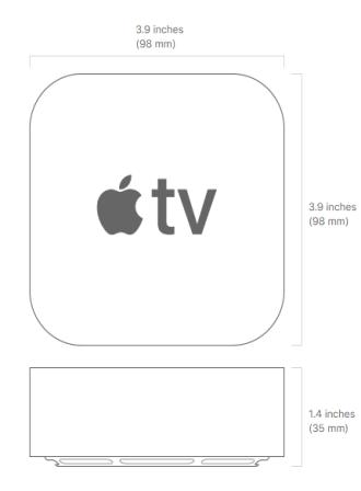 أبعاد جهاز Apple TV 4K تي في بوكس-2