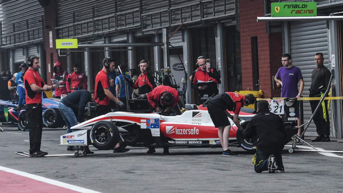 Perth's Calan Williams and his pit crew as he prepares to take on the Spa-Francorchamps circuit in Belgium, the third round of the 2018 Euroformula Open Championship.Picture: Greg Williams