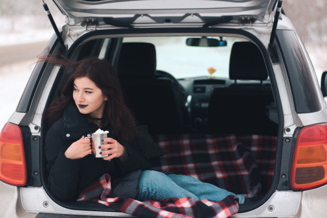 There is nothing better than a cup of hot coffee with marshmallow in the car when the weather outside is pretty unpleasant but snowy