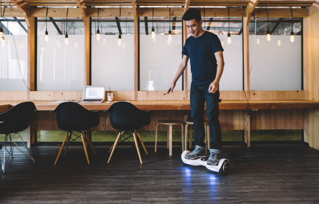 Man on segway hover board