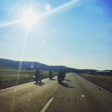 Motorcycle riders in the deserts of Eastern Washington.