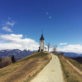 Church on top of the hill at Jamnik, Slovenia.