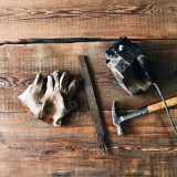 Creative woodworking tools and reclaimed wood.