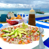 Ceviche on the beach.