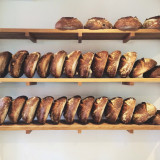 Fresh baked bread lineup in bakery.