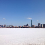 View from Harvard Bridge in Boston USA with frozen Charles River