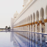 Blue tiled waterpools in Sheikh Zayed Mosque in Abu Dhabi, United Arab Emirates