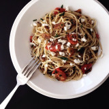 Spaghettini with garlic, olive oil, crushed red pepper flakes, grape tomatoes, Italian parsley, and feta