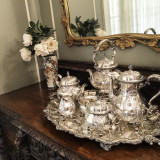 Rare Antique Silver Tea Set and Tray