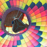 Colorful hot air balloon seen from below