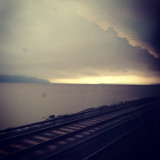 Storm clouds rolling in over the Hudson River, taken from Amtrak