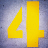 4 #utility #stencil #font #design #spray #typography #number #four #type #bright #yellow #paint on #concrete #coastal #sea #defence #Kent