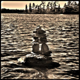 Inuksuk on the waters of Wolf Lake ON